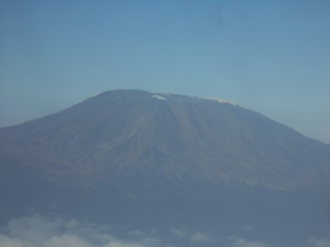 Kilimanjaro with only a little bit of snow visible