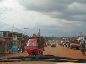 On a snail's pace through a village in the Rift Valley
