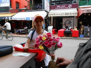 This little entrepreneur spoke perfect English selling her flowers in Pub Street