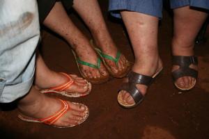 Red muddy feet