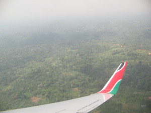 Flying over Africa enroute to Freetown